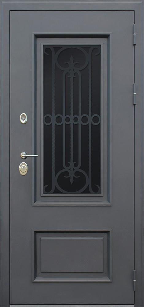 Стальная дверь «Аляска с окном и лазерной резкой» с терморазрывом (заказная позиция)
